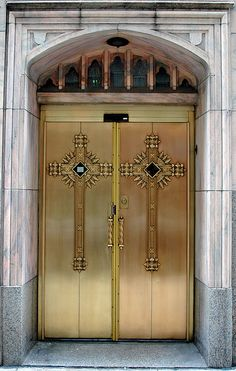 Entrance to St Peter's Catholic Church on West Madison Street in the Downtown Area of Chicago, Illinois.