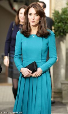 The Duchess, who was wearing the vibrant teal dress for the second time, was there in her ...