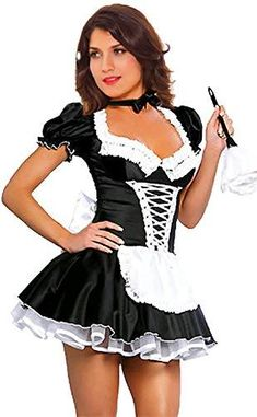 French Maid Fancy Dress, French Maid Costume, School Girl Lingerie, Maid Outfit, Halloween Fancy Dress, Halloween Costumes, Halloween Outfits, School Girl Outfit, Princess Costumes