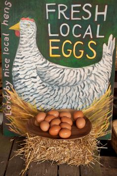 We Have Fresh Eggs today, 1 Doz left! Chicken Items, Chicken Art, Chicken Cottage, Fancy Chickens, Chickens Backyard, Eggs For Sale, Rooster Art, Cute Signs, Farm Stand
