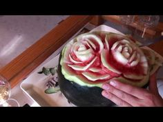 How to do fruit carving - Watermelon roses - YouTube