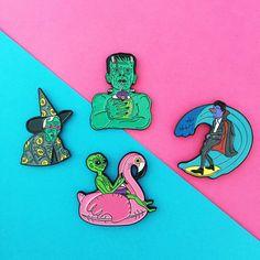 Horror characters Frankenstein, Witch, Dracula, Alien enamel lapel pins.