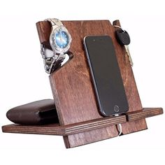Wooden iPhone Docking Station Valentines Day Gift For Men Anniversary Gifts For Boyfriend iPhone 6s plus 6s 6 plus 6 5 5s 4 Samsung Galaxy Android Red Mahoganynon personalized * Click on the image for additional details.