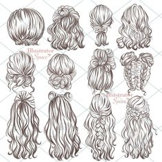 Glitter Mermaid Clipart, Mermaid Scrapbook, Sea Underwater Clip Art By Personal Epiphany Pencil Art Drawings, Drawing Sketches, Hair Drawings, Girl Hair Drawing, Illustration Sketches, Drawings Of Girls Hair, Drawing Tips, Long Hair Drawing, Fashion Illustration Hair