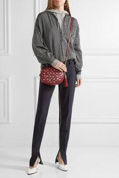 MICHAEL Michael Kors - Ginny Embellished Textured-leather Shoulder Bag - one size