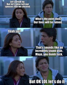 An Accurate And Honest Summary Of 'Kabhi Alvida Naa Kehna' Bollywood Funny, Vintage Bollywood, Very Funny Memes, Funny Jokes, Kabhi Alvida Naa Kehna, Lame Jokes, Hot Images Of Actress, Rani Mukerji, Desi Memes