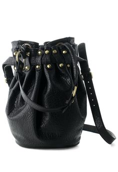 Black Diego Bucket Bag with Gold Studs