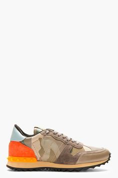VALENTINO Khaki Camo Low-Top Sneakers