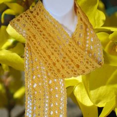 Forsythia Yellow Handknit Scarf   Luxury Wool Lace by KnittingGuru