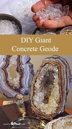 How to Make DIY Giant Concrete Geode. Simple step by step instructions to cast, paint and add crystals to create huge geodes and gem artifacts
