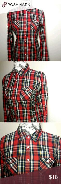 Aeropostale Women's Size L Button Down Plaid Shirt AEROPOSTALE ORIGINAL Women's Size Large Multi-color Plaid Button Down Shirt    Pre-owned in Excellent condition  Please view all images  Thanks for Looking & Sharing Happy Poshing😄 Aeropostale Tops Button Down Shirts