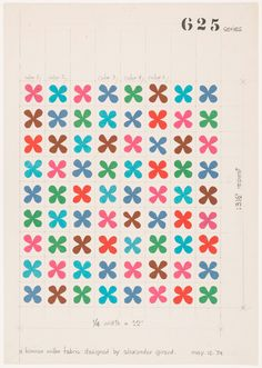 Eames friend: Alexander Girard, Design drawing for printed fabric - Quatrefoil, For Herman Miller. Via Cooper Hewitt Motifs Textiles, Textile Patterns, Print Patterns, Floral Patterns, Fabric Design, Pattern Design, Print Design, Graphic Design, Creative Inspiration