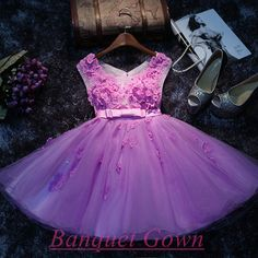 e7c7a88e604 Lovely Appliques Short Prom Dresses 2016 Tulle Homecoming Dress Vintage  Homecoming Dress For Girls from BanquetGown