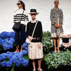 NYC skipped fall and winter as Kate Spade whisked guests into a floral, springtime tea party for her SS16 presentation. Guests were treated to champagne with swirly straws and bagels with cream cheese served by Kate Spade aproned servers/models. Tres New York! The clothes: Floral patterns and adornments on cocktail dresses, wicker purses in playful shapes like puppies and beehives and studded stilettos in a variety of heights and colors defined Kate Spade's new collection. Dream spring…