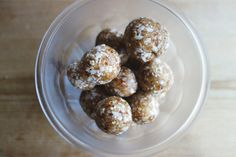 4 ingredients coco balls!  These are so good, yet so healthy!  See the recipe here:  http://eatkindly.wordpress.com/2014/10/24/4-ingredient-coco-balls/