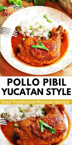 Marinated in colorful achiote and citrus marinade and served with pickled onions, this chicken dish is one of the most popular dishes all over the Yucatán. Quick and easy recipe to prepared and so delicious. #pibil #pollopibil #chickenpibil Potluck Dinner, Mexican Potluck, Traditional Mexican Food, Achiote, Mexican Food Recipes, Ethnic Recipes, Mexican Dishes, Pickled Onions, Recipes