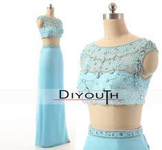 DIYouth.com Handmade Beading Crystal Light Blue High Neck 2 Pieces Evening Dresses,sexy cocktail dresses,graduation dresses,two piece homecoming dresses, evening dresses