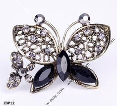 4.7x3.5cm Fancy Dark Butterfly Jewelry Beauty Crystal Rhinestone Pin Brooch #eozy