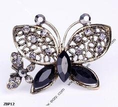 4.7x3.5cm Fancy Dark Butterfly Jewelry Beauty Crystal Rhinestone Pin Brooch #eozy