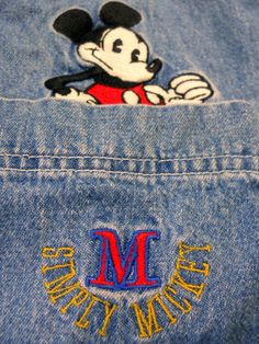 Disney Denim Shirt Simply Mickey 2XL Threaded Patch over Pocket Long Sleeves #DisneyStore #ButtonFront