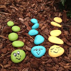 Rock caterpillar garden craft. Simple and fun - great for the kids and/or a gift