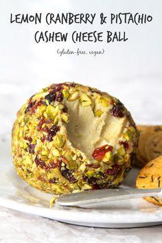 Lemon Cranberry & Pistachio Cashew Cheese Ball   Gluten-free, Vegan   The Plant Strong Vegan