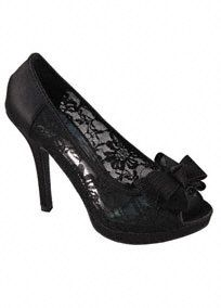 """This lace peep toe is perfect for any fashionista wanting to take her shoe collection to the next level!  High heel peep toe features stunningand feminine lace.  Bow detail in front is classic and adds the finishing touch.  4.5"""" heel. 1.2"""" platform.  Available in Black.  Fully lined. Imported."""