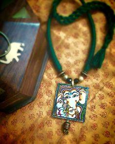 Kerala mural painted Ganapathy pendant set from Ros petals