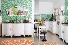 Ideas para reciclar una casa  Las venecitas verdes cortan el blanco de los muebles de la cocina. Foto:Magalí Saberian