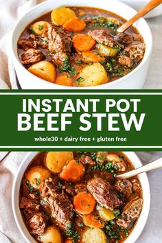The BEST Instant Pot Beef Stew recipe! Fork tender beef with carrots and potatoes are super flavorful in a rich, savory broth. Ready in under an hour! Instant Pot Beef Stew Recipe, Instant Pot Dinner Recipes, Instant Pot Meals, Beef Bourguignon, Instant Pot Pressure Cooker, Pressure Cooker Recipes, Pressure Cooker Beef Stew, Slow Cooker, Pressure Cooking