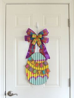 Happy Easter Egg Door Hanger Easter wreath by SparkleWithDesigns