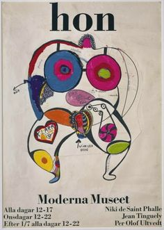 """catrinastewart: """"Niki de Saint Phalle - HON HON was built in the great hall of the Stockholm museum in May Designed by Niki de Saint Phalle and her husband Jean Tinguely, they chose a walk-in. Jean Tinguely, Festival D'art, Subtractive Color, Gouache, Graphisches Design, Atelier D Art, Smart Art, Art Party, Museum Of Modern Art"""
