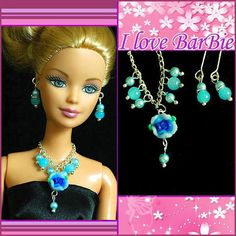 handmade barbie doll fashion jewelry set necklace earrings for barbie dolls #Unbranded