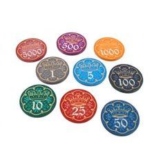 Ons eigen ontwerp keramische pokerchips: De King's Crown fiches.  Deze exclusieve keramische chips wegen 10 gram, net als vele chips in de casino's in Las Vegas.