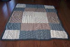 A knit patchwork blanket