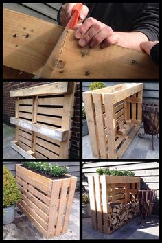 Shed DIY - My Shed Plans - Plantenbak/haardhout kast gemaakt van pallets - Now You Can Build ANY Shed In A Weekend Even If Youve Zero Woodworking Experience! Now You Can Build ANY Shed In A Weekend Even If You've Zero Woodworking Experience! Into The Woods, Woodworking Projects Diy, Diy Pallet Projects, Woodworking Plans, Wood Projects, Youtube Woodworking, Woodworking Classes, Woodworking Videos, Pallet Furniture