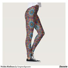 Polska Kielbasa Leggings - These great leggings are based on a traditional Polish design featuring brightly colored roosters and flowers.  Ring in Sprintime with these beautiful leggings that will make your legs look fabulous and attract the eyes.  #Zalipie #Poland #Polska #Polish #PaintedVillage #LesserPolandVoivodeship #Dąbrowa County #GminaOlesno #Olesno #DąbrowaTarnowska #Kraków #LuLaRoe #Leggings #Sexy