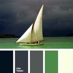 Shades of gray gamma are combined in contrast with sea emerald green and white colors. This color solution is suitable for the decoration of a study, lounge or reception. It will look organic in the men's business and casual clothes.