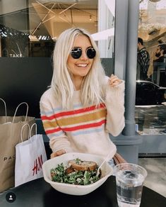 Aspyn Ovard smiling at her healthy lunch in her Striped ASOS Sweater Back To School Outfits, College Outfits, Outfits For Teens, Winter Outfits, Aspyn Ovard Outfits, Aspyn And Parker, Cool Kids Clothes, Pants For Women, T Shirts For Women