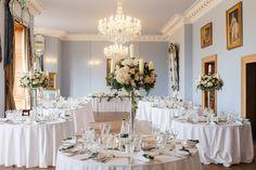 candelabra centrepiece at Haigh Hall - blush wedding flowers - wedding centrepieces - laurel weddings