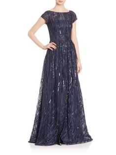David Meister - Short Sleeve Embroidered Sequin Gown