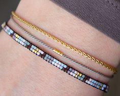 Handmade Miyuki beaded bracelet - Gold plated lobster clasp