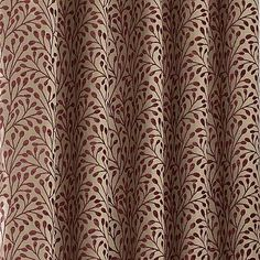 Patterned with a subtle leaf motif in red on a cream background, this pair of fully lined ready made curtains feature a chenille texture and a stylish eyelet header, crafted in a choice of sizes with coordinating items available. Paisley Curtains, Curtains Dunelm, Bedroom Red, Master Bedroom, Floral Texture, Types Of Curtains