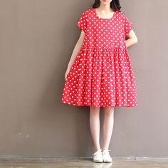 Japanse mori meisje stijl rode vestidos 2017 zomer stijl plus size vrouwen stip vintage jurken plus size kleding