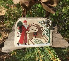 Counted Cross Stitch Old World Santa on Driftwood by PinesAndNeedlework on Etsy