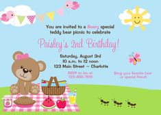 Teddy Bear Picnic Birthday Party Invitation by TheButterflyPress  For phoebe margaux!