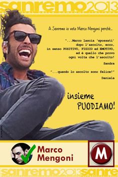 MARCO MENGONI verso SANREMO ...io lo voto perchè I FEEL GOOD http://www.youtube.com/watch?v=T_CsuzPOM7g