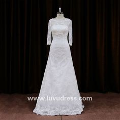 Back See-Through Lace Detachable Skirt Three Quarter Sleeve Wedding Dresses With Bow Back