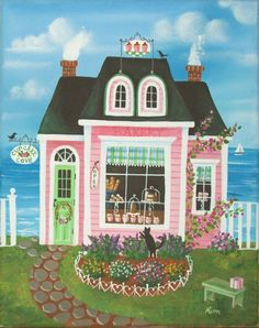 Folk Art Prints | Cupcake Cove Bakery Folk Art Print by KimsCottageArt on Etsy