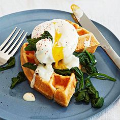 Breakfast for Dinner: Eggs Florentine Over Cornmeal Waffles #recipe